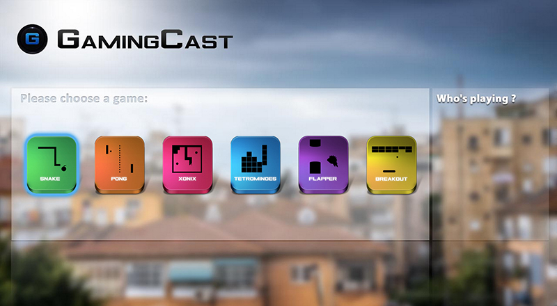 Gamingcast (for chromecast) screen