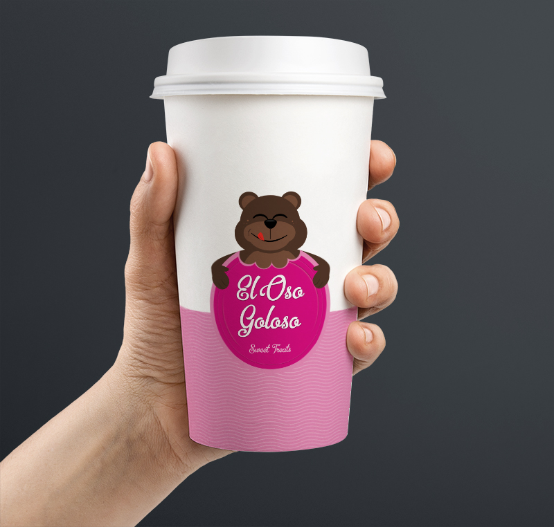 el oso goloso - logo on cup design